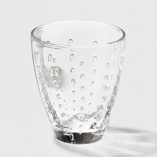 Odile glass with drops clear H10,5 D9cm