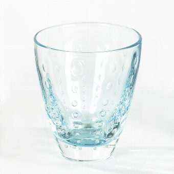 Odile glass with drops aqua H10,5 D9cm