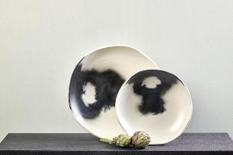 Keiichi brush bowl, ivory/ black