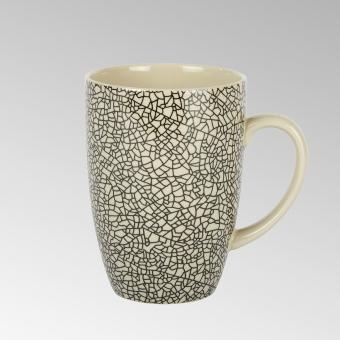 Kaori mug H 10,3 D 7,6 cm black/white krakelee
