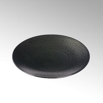 Kaori plate D27,5 black metallic/ray stoneware