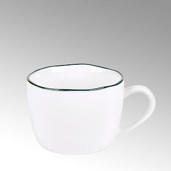 Piana coffeecup white with basalt-grey rim,