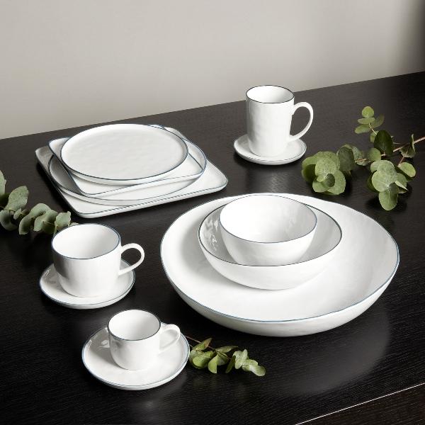 Piana mug with handle white with basalt-grey rim,