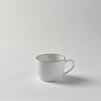 Piana coffeecup white with red rim