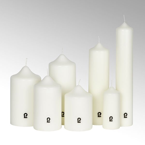 candle, round, ivory, H 12 cm, D 8 cm