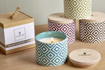 Ebba fragrance candle in vessel petrol with lid