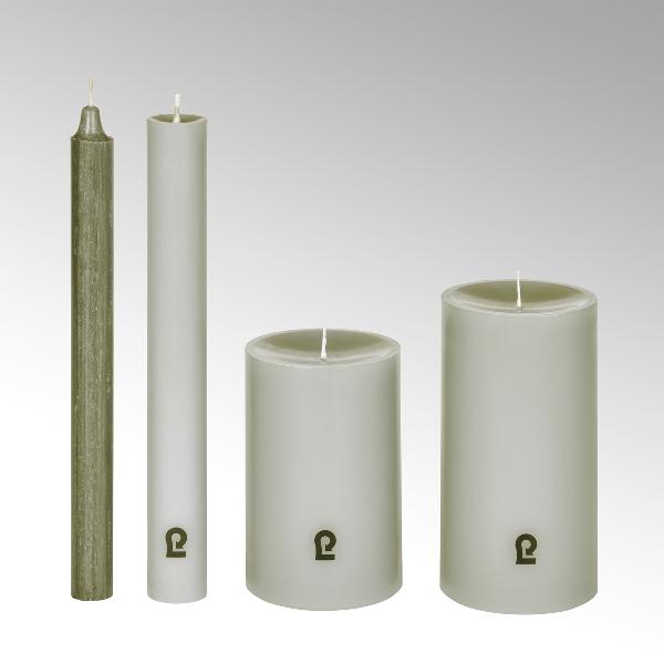 candle, round, linnen, H 24 cm, D 3cm