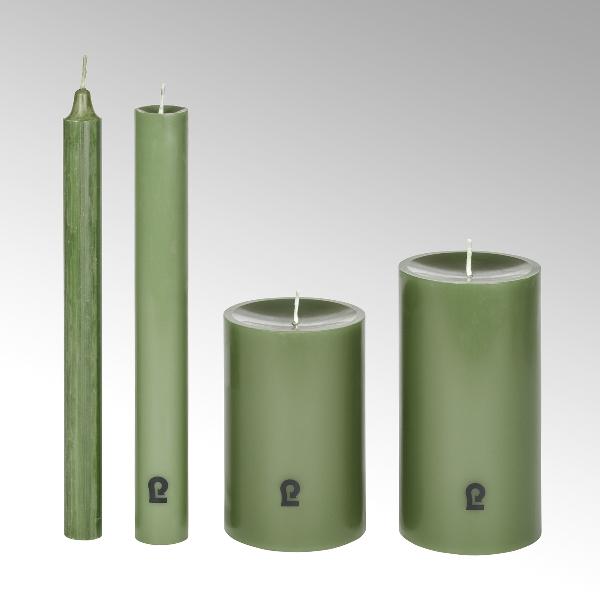 candle, round, linde, H15cm, D8cm