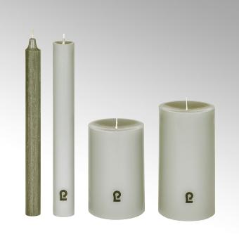 candle, round, linnen, H15cm, D8cm