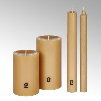 candle, round, sand, H 12 cm, D 8 cm