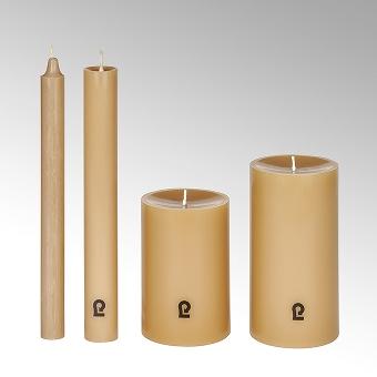 candle, round, sand, H 15 cm, D 8 cm
