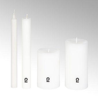 candle, round, white, H15 cm, D 8 cm