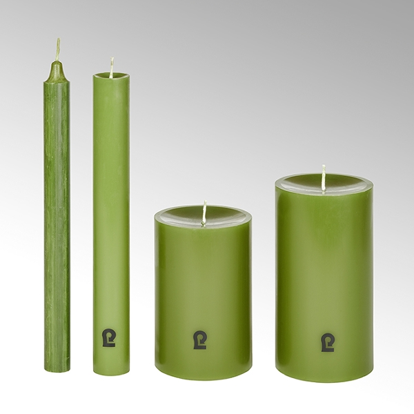 candle, round, spruce H15cm, D8cm