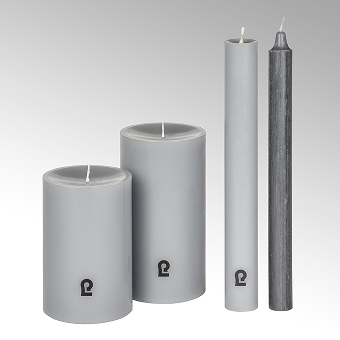 candle, round, slate, H 12 cm, D 8 cm