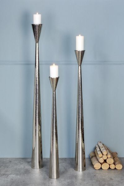 Taza candle stand nickle plated hammering H150cm
