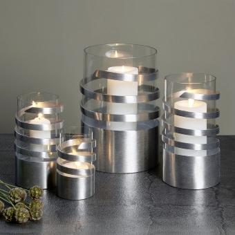 Spiral Windlicht Aluminium mittel