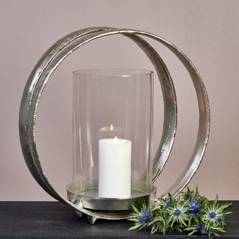 Lumberto Windlicht Aluminium mit Glaseinsatz
