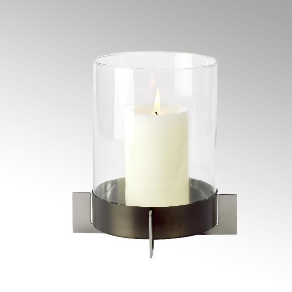 Alta Windlicht Edelstahl mit Glaszylinder