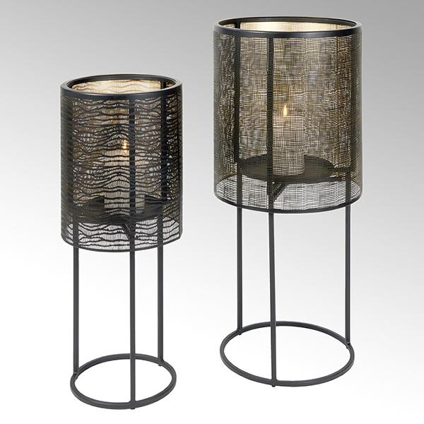 Hiroko candle pillar, big, iron, black/gold