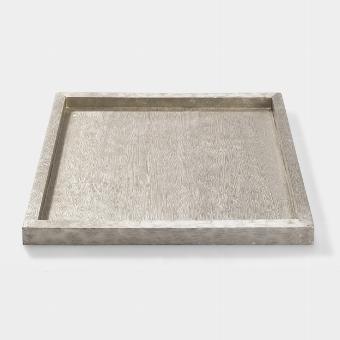 Tresor tray white metal 40x40 H2,5cm