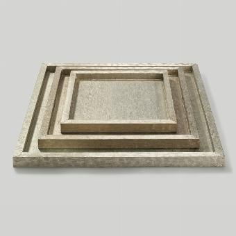 Tresor tray white metal 50x50 H2,5cm