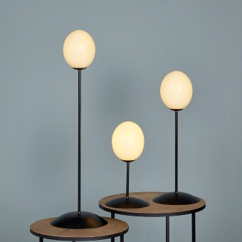 Emu table-lamp black/ostrich egg H 35 cm