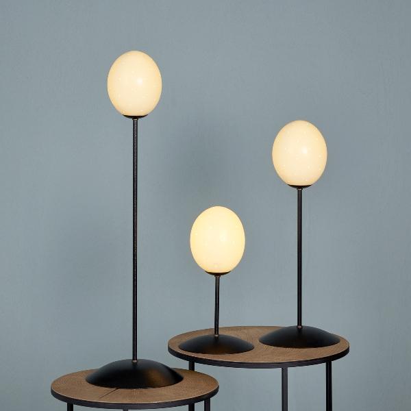Emu table-lamp black/ostrich egg H 75 cm