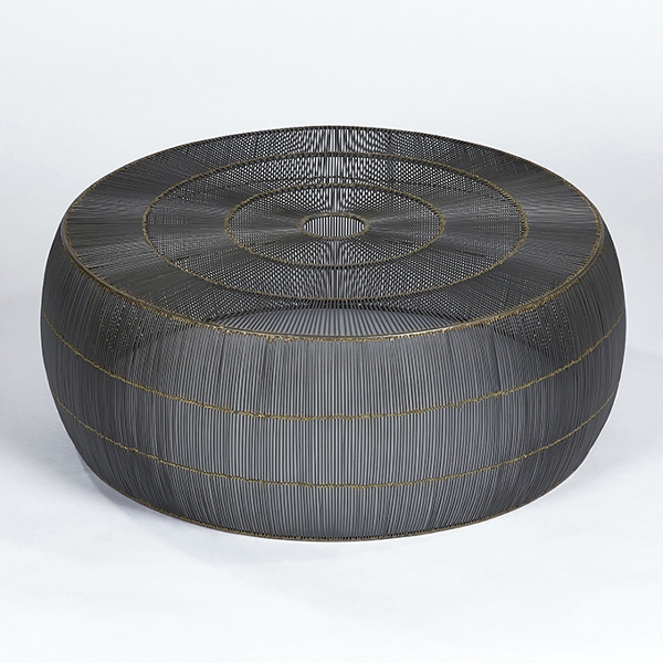 Obhan coffee table woven wire natural anthracite