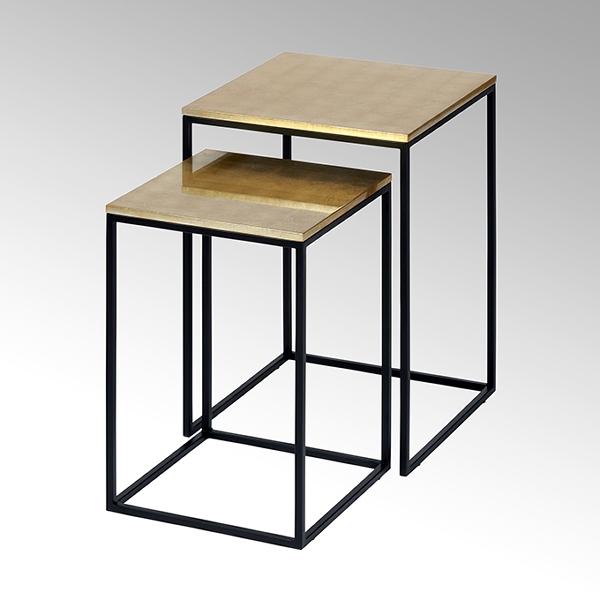 Akari table set, metal poweder coated black, table