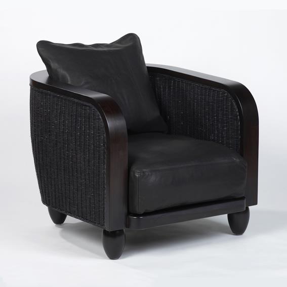 Set-Bezug Leder schwarz für Lobby Sessel