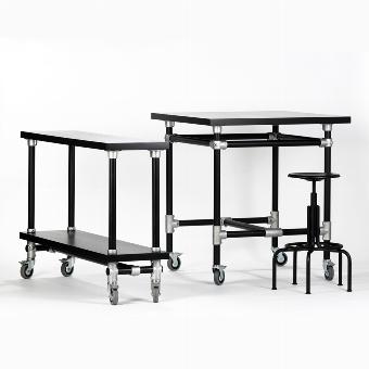 Industrie table black 1oox1oo H105cm