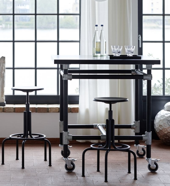 Industrie stool high iron frame black H65-85