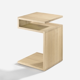 Deposito side table solid oak, white