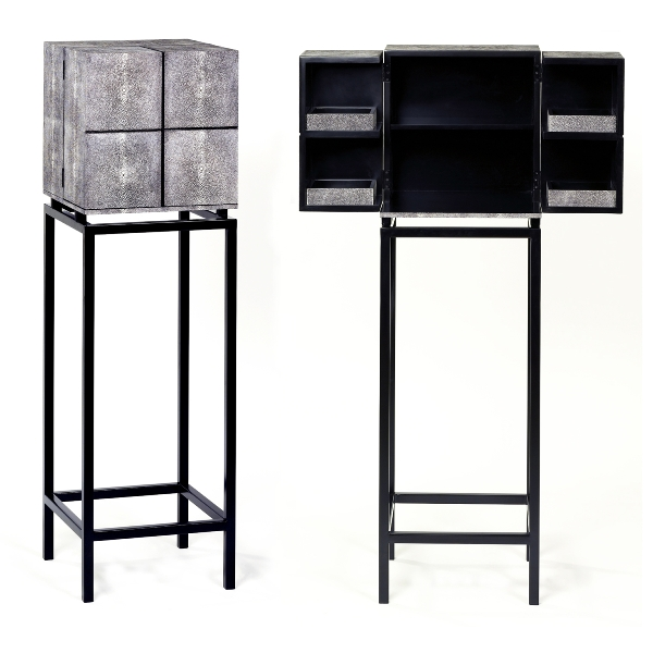 Treasure cabinet ray skin imitation - charcoal