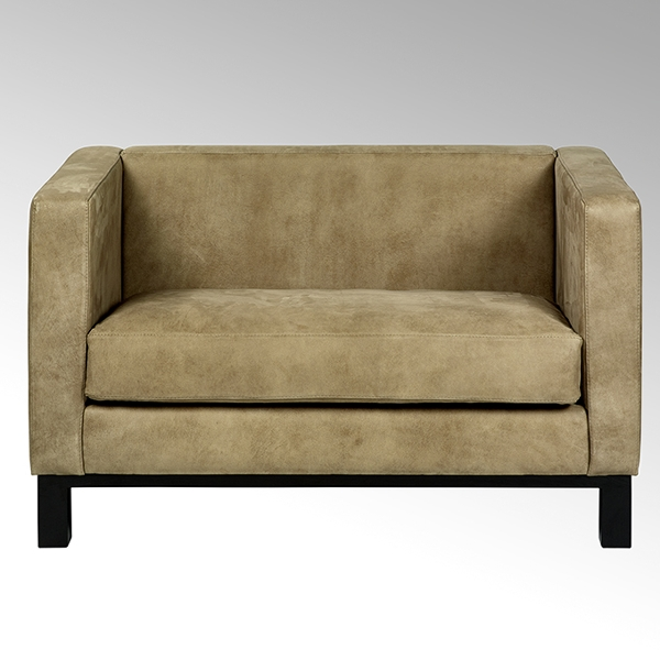 Bella sofa with leather AFRIKA, taupe