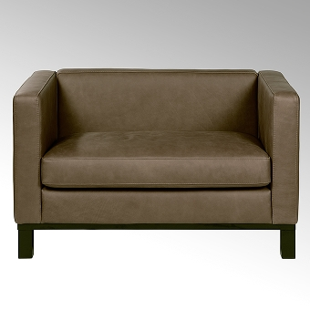Bella sofa with leather AFRIKA, brown