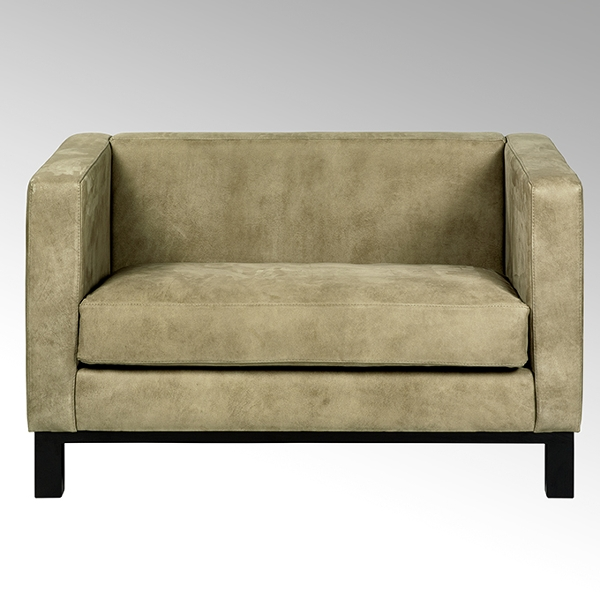 Bella sofa with leather SANTA FE, grey