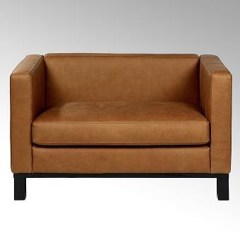 Bella sofa with leather SANTA FE, cognac