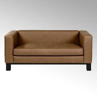 Bella sofa with leather SANTA FE cognac