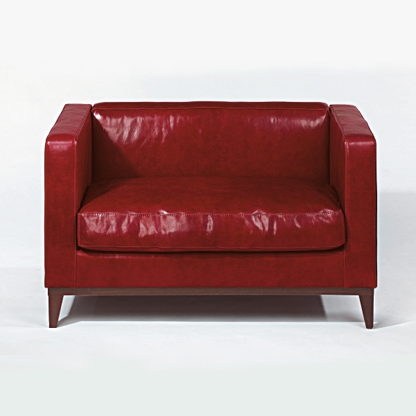 Stanhope sofa leather bordeaux-red 12ox72x7ocm