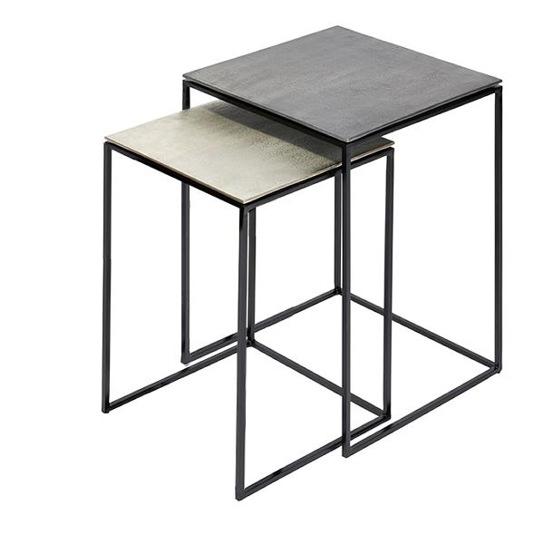 Beistelltisch groß Eisen/Aluminium quadrat