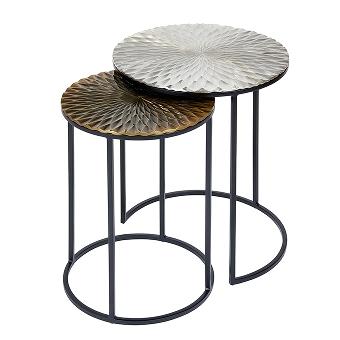 Side table set of 2 iron/aluminium round