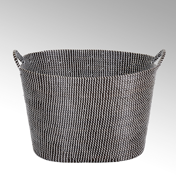 Odongo seagrass basket with handles black/white