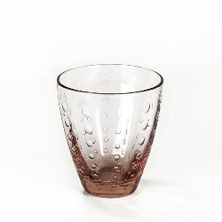 Odile glass with drops light pink H10,5 D9cm
