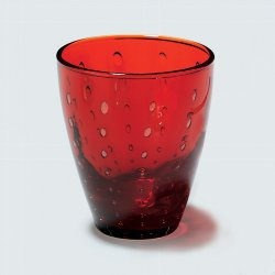 Odile glass with drops red H10,5 D9cm