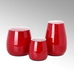 Pisano vase H18 D 17cm red/inside white