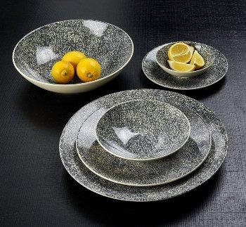 Kaori plate D34,5 black/white krakelee stoneware