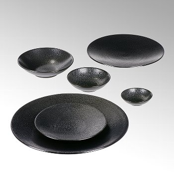 Kaori plate D21 black metallic/ray stoneware