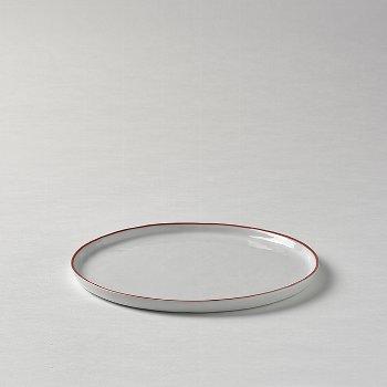 Piana plate white red rim d 21,5 cm