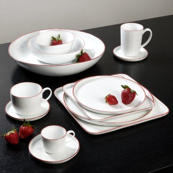 Piana  mug with handle white with red rim